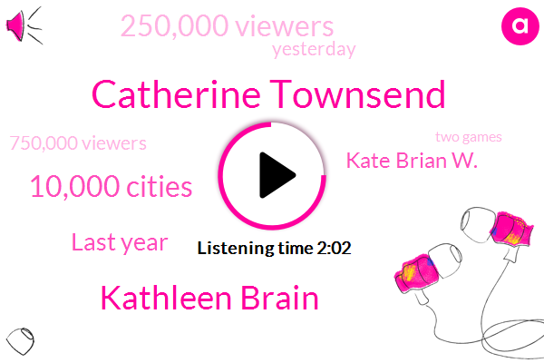 Catherine Townsend,Kathleen Brain,10,000 Cities,Last Year,Kate Brian W.,250,000 Viewers,Yesterday,750,000 Viewers,Two Games,Trust For The National Mall,W T O P App,19,Basin,This Year,National Park Service,CAM,One Field,Maryland Insurance,Mic Morello,Over 160 Countries