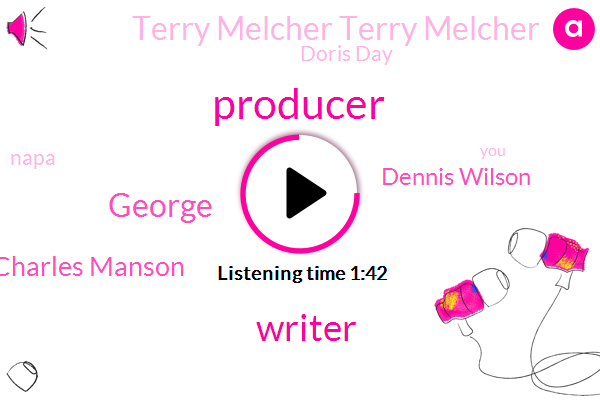 Producer,Writer,George,Charles Manson,Dennis Wilson,Terry Melcher Terry Melcher,Doris Day,Napa