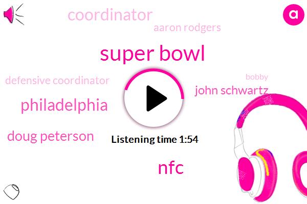 Super Bowl,NFC,Philadelphia,Doug Peterson,John Schwartz,Coordinator,Aaron Rodgers,Defensive Coordinator,Bobby,Mike,Minnesota,Alan Cooke,Davis Murray,Football,Pittsburgh