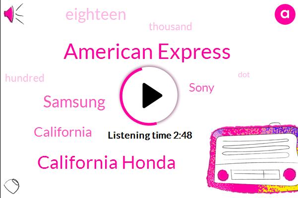 American Express,California Honda,Samsung,California,Sony