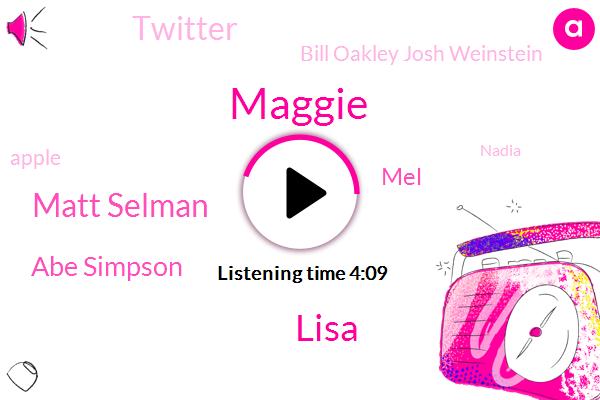 Maggie,Lisa,Matt Selman,Abe Simpson,Simpsons,MEL,Twitter,Bill Oakley Josh Weinstein,Apple,Nadia,Jacqueline Bouvier Marge,Mcghee,Gerald,Mike,Five Years