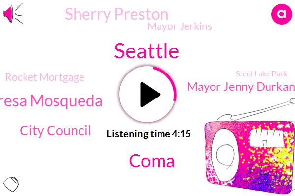 Seattle,Coma,Theresa Mosqueda,City Council,Mayor Jenny Durkan,Sherry Preston,Mayor Jerkins,Rocket Mortgage,Steel Lake Park,Tacoma,Greg Herschel,Jeff Bezos,King County Superior Court,Carleen Johnson,Google,Apple,Coma City Centre,Officer