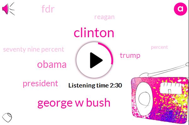 Clinton,George W Bush,Barack Obama,President Trump,Donald Trump,FDR,Reagan,Seventy Nine Percent,Thirty Seven Percent,Twenty Eight Percent,Fifty Eight Percent,Ninety Four Percent,Sixty Three Percent,Thirty Five Percent,Twenty Five Percent,Ninety One Percent,Forty Six Percent,Seventy Percent,Thirty Percent