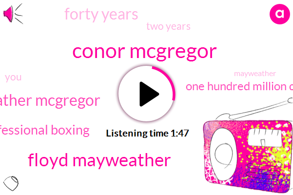 Conor Mcgregor,Floyd Mayweather,Mayweather Mcgregor,Professional Boxing,One Hundred Million Dollars,Forty Years,Two Years