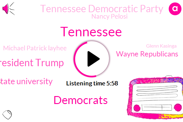 Tennessee,Democrats,President Trump,East Tennessee State University Middle Tennessee State University,Wayne Republicans,Tennessee Democratic Party,Nancy Pelosi,Michael Patrick Layhee,Glenn Kasinga,Democratic Party,Steve Gill,Clarksville,Senate,Bill Hasler Bill,Steve Dill,Taylor Swift,Vanderbilt,Mary Mancini,Craig Fitzhugh