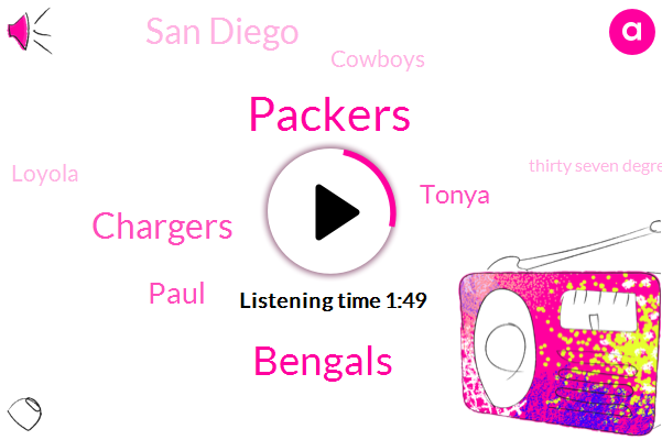 Packers,Bengals,Chargers,Paul,Tonya,San Diego,Chicago,Cowboys,Loyola,Thirty Seven Degrees Fahrenheit,Fifty Nine Degrees Fahrenheit,Two Hours