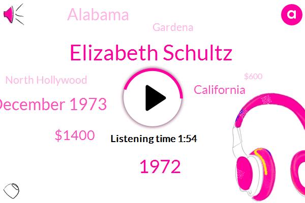 Elizabeth Schultz,1972,December 1973,$1400,California,Alabama,Gardena,North Hollywood,$600,1966,Ohio,April,ABC,Two Guys,Roy Wood Jr,Last Week,Bill Seward K. F.,Danny Max,South Coast Plaza,$4