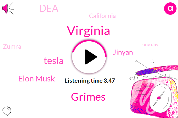 Virginia,Grimes,Tesla,Elon Musk,Jinyan,DEA,California,Zumra,One Day,Ninety Thousand Dollar