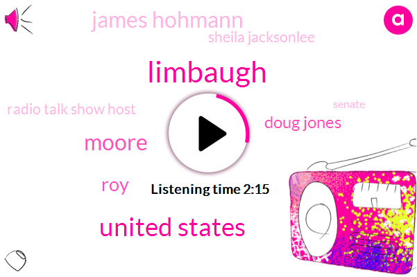 Limbaugh,United States,Moore,ROY,Doug Jones,James Hohmann,Sheila Jacksonlee,Radio Talk Show Host,Senate,Alabama,Washington,Attorney,Beverly Nelson
