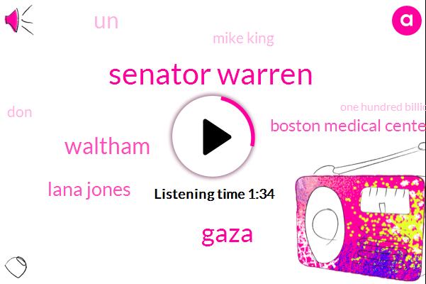 Senator Warren,Gaza,Waltham,Lana Jones,Boston Medical Center,UN,Mike King,DON,One Hundred Billion Dollars,Ten Years