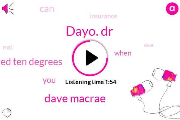 Dayo. Dr,Dave Macrae,One Hundred Ten Degrees