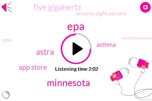 EPA,Minnesota,Astra,App Store,Asthma,Five Gigahertz,Seventy Eight Percent,Ninetythree Percent,Four Gigahertz