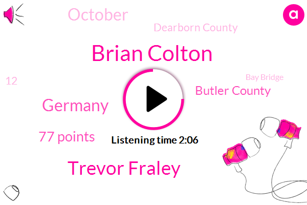 Brian Colton,Trevor Fraley,Germany,77 Points,Butler County,October,Dearborn County,12,Bay Bridge,Rick,Italy,Middle East,Last Week,13,Spain,93,Nasdaq,18,26 Year Old,Kabul, Afghanistan