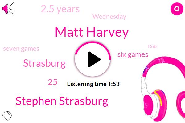 Matt Harvey,Stephen Strasburg,Strasburg,25,Six Games,2.5 Years,Wednesday,Seven Games,Jill Biden,29,ROB,Mike,TWO,Olympic,61,4,Nats,Three,Seven Starts,Second Half