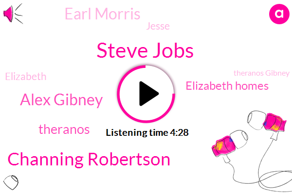 Steve Jobs,Channing Robertson,Alex Gibney,Theranos,Elizabeth Homes,Earl Morris,Jesse,Elizabeth,Theranos Gibney,Aero Morris,Wani,John Horn,United States,CEO,Director,Five Hours