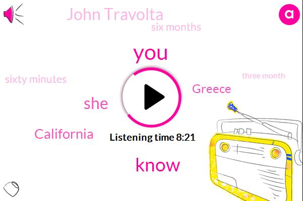 California,Greece,John Travolta,Six Months,Sixty Minutes,Three Month
