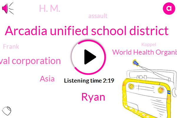 Arcadia Unified School District,Ryan,Carnival Corporation,Asia,World Health Organization,H. M.,Assault,Frank,Koppel