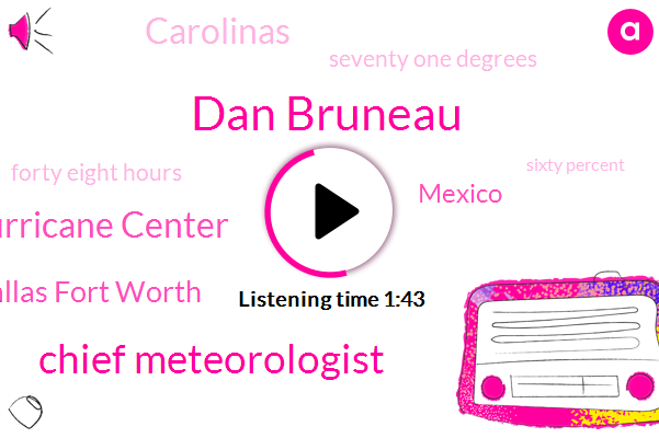 Dan Bruneau,Chief Meteorologist,Hurricane Center,Dallas Fort Worth,Mexico,Carolinas,Seventy One Degrees,Forty Eight Hours,Sixty Percent