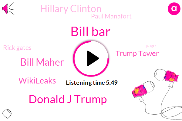 Bill Bar,Donald J Trump,Bill Maher,Wikileaks,Trump Tower,Hillary Clinton,Paul Manafort,Rick Gates,Donald Trump,Officer,FBI,Santorum Coursey,Assange,Tom Hartman,Nasc Malik,Florida County,United States,Malik Corsi,Jerry