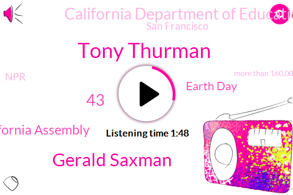Tony Thurman,Gerald Saxman,43,California Assembly,Earth Day,California Department Of Education,San Francisco,NPR,More Than 160,000,12 Schools,NG,Millions,This Year,Senate,9000 Man,Kcrw,12 Vote,Fast,Less Than A Quarter Of The School,About Half Of The Departing Students