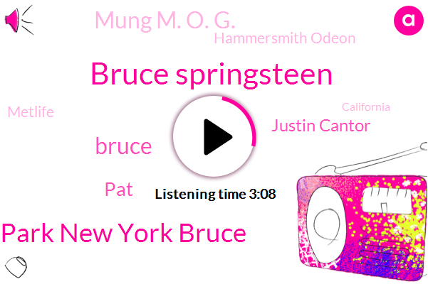 Bruce Springsteen,Park New York Bruce,Bruce,PAT,Justin Cantor,Mung M. O. G.,Hammersmith Odeon,Metlife,California,New Jersey,Barbara Quinn,Buffalo,Barclay Center,James,Marsha,Seventy Five Months,Forty Four Years,Twenty One Years,Twenty Two Years