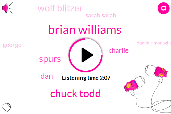 Brian Williams,Chuck Todd,Spurs,DAN,Charlie,Wolf Blitzer,Sarah Sarah,George,Dominic Monaghan