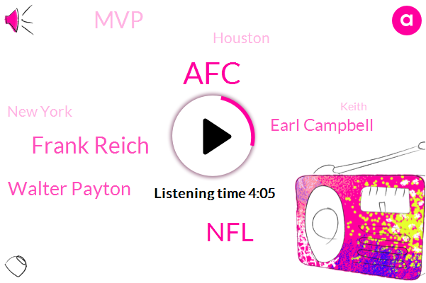 Football,AFC,NFL,Frank Reich,Walter Payton,Earl Campbell,MVP,Houston,New York,Keith,Colts