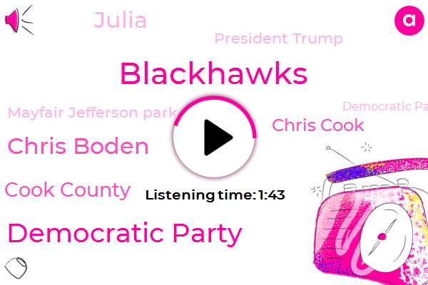 Blackhawks,WGN,Cook County Democratic Party,Chris Boden,Cook County,Chris Cook,Julia,President Trump,Mayfair Jefferson Park,Democratic Party,Edberg,Pittsburgh,Roger Badesch,NHL,Preckwinkle,Winkle,Drake,United Center
