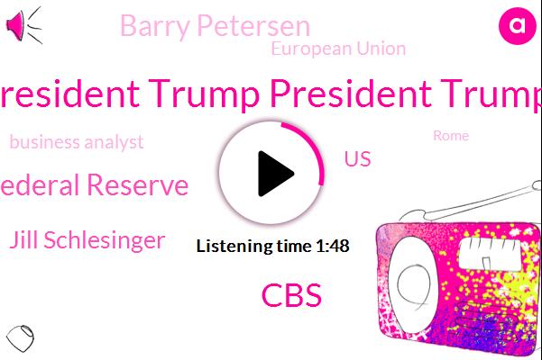 President Trump President Trump,Federal Reserve,CBS,Jill Schlesinger,United States,Barry Petersen,European Union,Business Analyst,Rome,Steven Mnuchin,Indonesia,Seventy Eight Percent