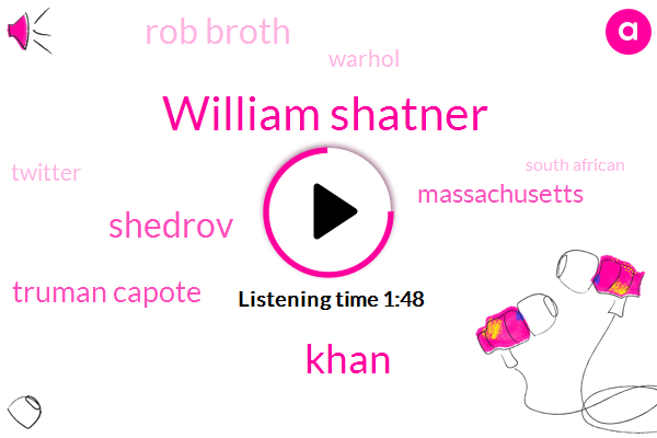 William Shatner,Khan,Shedrov,Truman Capote,Massachusetts,Rob Broth,Warhol,South African,Twitter,Andy Warhol,Writer,Cambridge,Tony Award,Michael Mayor,Los Angeles,Thirty Five Years,Eighty Hours,Fifty Years,Six Years