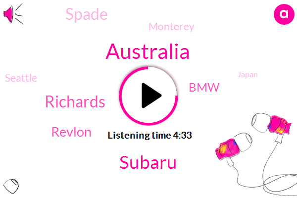Australia,Subaru,Richards,Revlon,BMW,Spade,Monterey,Seattle,Japan,Ohio,Callaway,LA,Elliot,Aram,Molly,Beckenham,Forty Weeks,Two Years