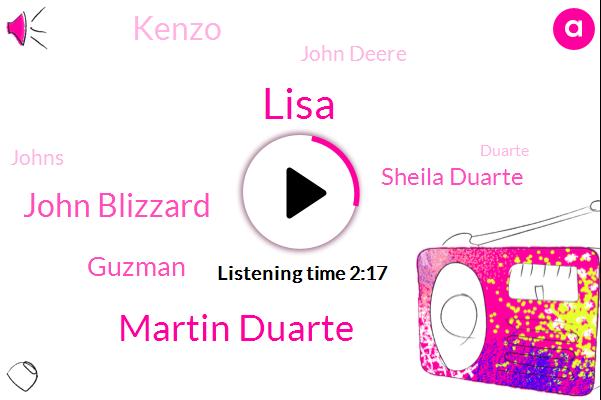 Lisa,Martin Duarte,John Blizzard,Guzman,Sheila Duarte,Kenzo,John Deere,Johns