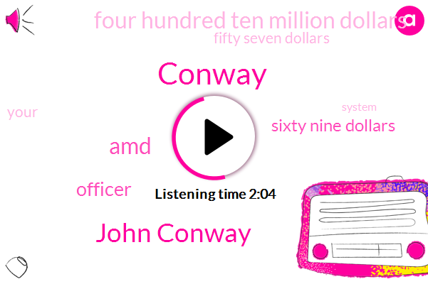 John Conway,Conway,AMD,Officer,FOX,Sixty Nine Dollars,Four Hundred Ten Million Dollars,Fifty Seven Dollars