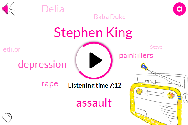 Stephen King,Assault,Depression,Rape,Painkillers,Delia,Baba Duke,Editor,Steve,Tommy Knockers,Jack Torrance,Paul Sheldon,Writer,Phoenix,Fraud