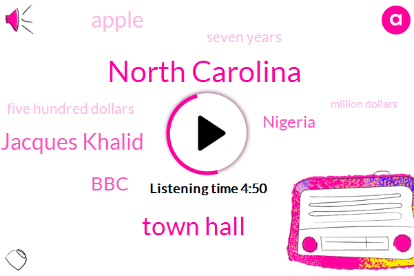 North Carolina,Town Hall,Jacques Khalid,BBC,Nigeria,Apple,Seven Years,Five Hundred Dollars,Million Dollars,Thirty Percent,Six Months