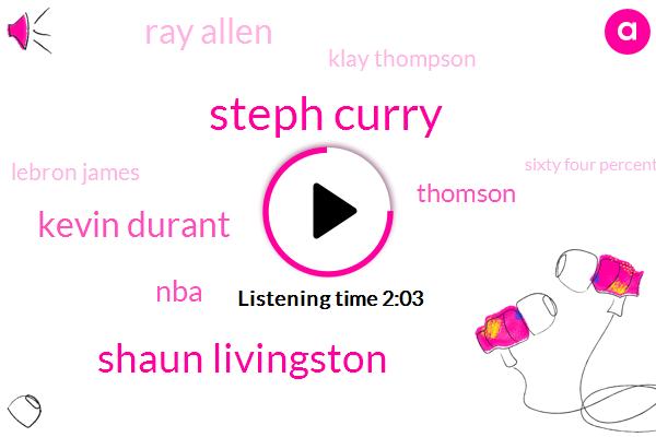 Steph Curry,Shaun Livingston,Kevin Durant,Thomson,NBA,Ray Allen,Klay Thompson,Lebron James,Sixty Four Percent,Fifty Six Percent,Thirty Three Feet
