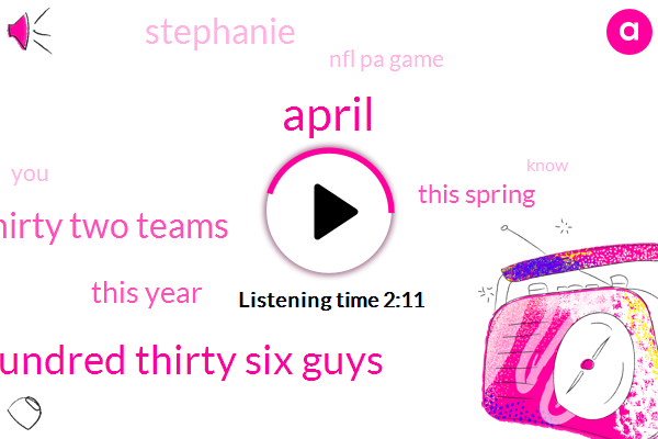 April,Hundred Thirty Six Guys,Thirty Two Teams,This Year,This Spring,Stephanie,Nfl Pa Game