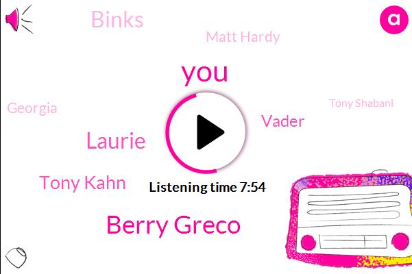 Berry Greco,Laurie,Tony Kahn,Vader,Binks,Matt Hardy,Georgia,Tony Shabani,Jeddah,League,Luke,Jed I,AWA,Coney,Executive,Tony,Anikin,Bond