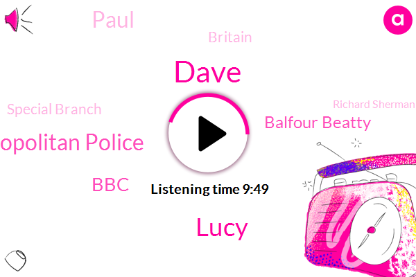 Dave,Lucy,Metropolitan Police,BBC,Balfour Beatty,Paul,Britain,Special Branch,Richard Sherman,Lucille,Cape Parker,Helms,Glasgow,Arts Council,Paper Barbecue,Frick Interests,Davis,Lynch,Rome