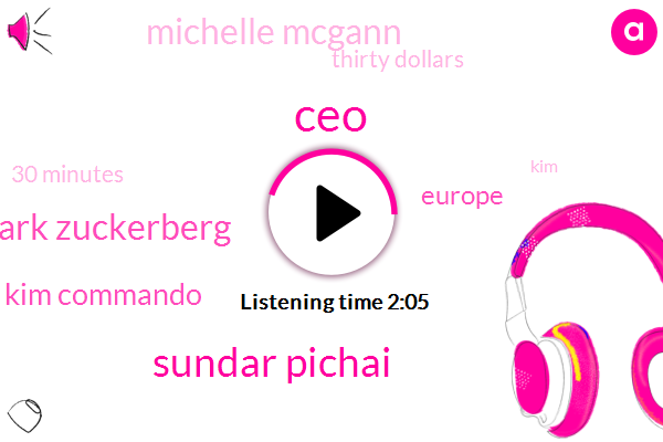 CEO,Sundar Pichai,Mark Zuckerberg,Kim Commando,Europe,Michelle Mcgann,Thirty Dollars,30 Minutes