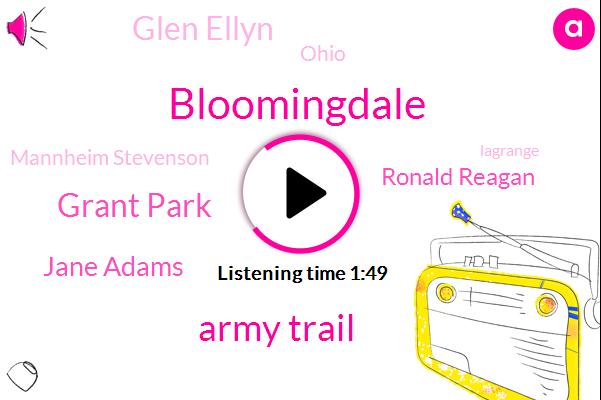 Bloomingdale,Army Trail,Grant Park,Jane Adams,Ronald Reagan,Glen Ellyn,Wbbm,Ohio,Mannheim Stevenson,Lagrange,Lorenzo Rhode Island,Venice,Seventeen Ninety Fifth,Eight Minutes,Ten Minutes