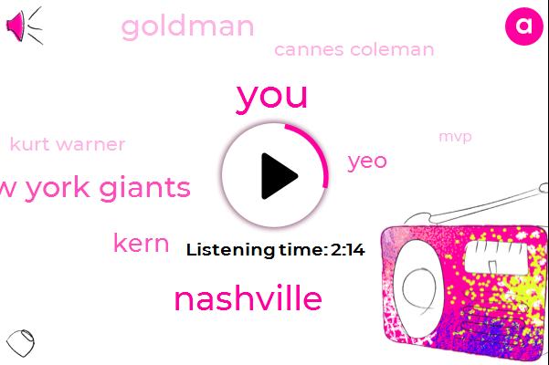 Coleman,Nashville,New York Giants,Kern,YEO,Goldman,Cannes Coleman,Kurt Warner,MVP,St Louis Rams,Arizona,NFL