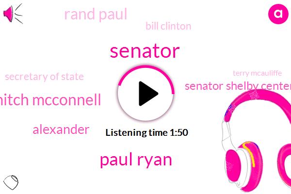 Senator,Paul Ryan,Mitch Mcconnell,Alexander,Senator Shelby Center,Rand Paul,Bill Clinton,Secretary Of State,Terry Mcauliffe,PA,Don Jr,President Trump,Moran,Collins,Bloomberg,Hillary Clinton,Wikileaks,Russia,Congress,Nine Seconds
