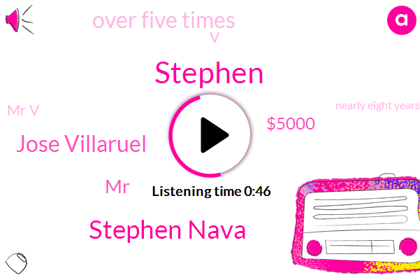 Stephen Nava,Jose Villaruel,Stephen,$5000,Over Five Times,Mr V,Nearly Eight Years,V.,MR,V