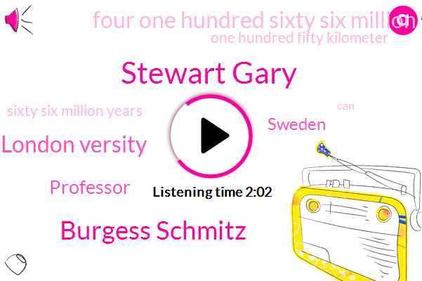 Stewart Gary,Burgess Schmitz,London Versity,Professor,Sweden,Four One Hundred Sixty Six Million Years,One Hundred Fifty Kilometer,Sixty Six Million Years