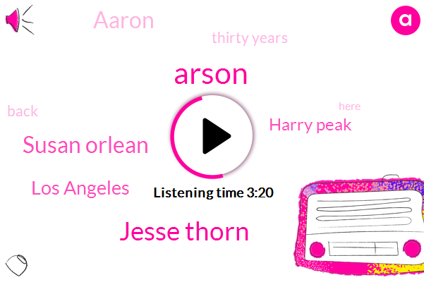 Arson,Jesse Thorn,Susan Orlean,Los Angeles,Harry Peak,Aaron,Thirty Years