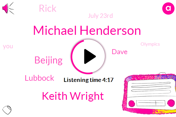 Michael Henderson,Keith Wright,Beijing,Lubbock,Dave,Rick,July 23Rd,Olympics,15 Seconds,Norman Connors,August 8Th,Covid,Denver,Greg,Tokyo,Late Seventies,719361,NFL,Fred,Today