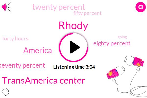 Rhody,Transamerica Center,America,Seventy Percent,Eighty Percent,Twenty Percent,Fifty Percent,Forty Hours