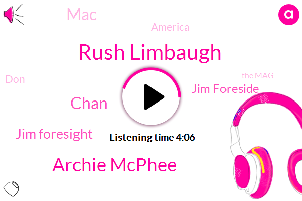 Rush Limbaugh,Archie Mcphee,Chan,Jim Foresight,Jim Foreside,MAC,America,DON,The Mag,Rick,Football,JOE,Kristen,Five Dollars,Ninety Eight Days,One Hundred Days,Twelve Hundred W,Ninety Degrees