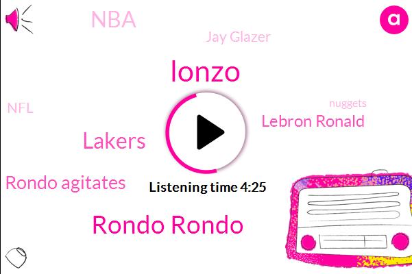 Lonzo,Rondo Rondo,Lakers,Rondo Agitates,Lebron Ronald,NBA,Jay Glazer,NFL,Nuggets,Russell Westbrook,Denver Nuggets,Daryl Maura Houston,Rockets,Luke,Twitter,GM,Boston,Aaron Rodgers,Rob Pelinka,Basketball